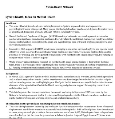 Syria's health: focus on Mental Health