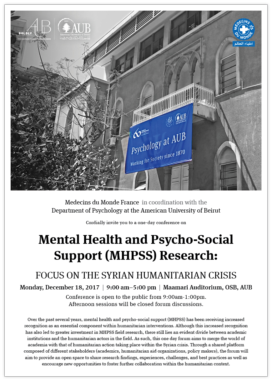 Mental Health & Psycho-social Support (MHPSS) Research: Focus on the Syrian Humanitarian Crisis